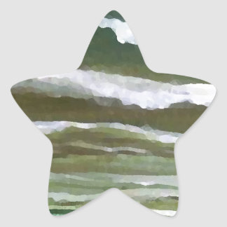 Boat in the Edge of the Sea Ocean Waves Art Star Sticker