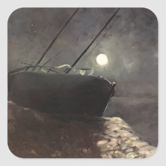 Boat in the Moonlight by Odilon Redon Square Sticker
