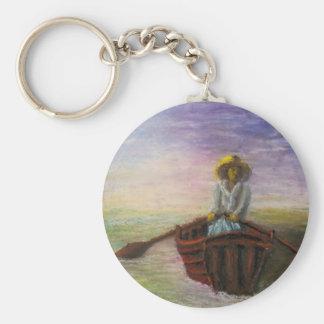 boat lady.jpg basic round button keychain
