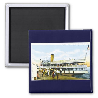 Boat Landing at New Harbor, Block Island, R.I. 2 Inch Square Magnet