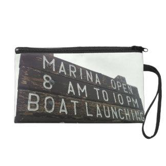 Boat Launch Marina Wood Sign Wristlet Purse