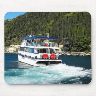 Boat leaving Maderno on Lake Garda Mouse Pad
