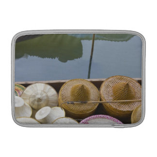 Boat loaded with bamboo hats at floating market MacBook air sleeve