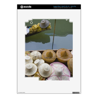 Boat loaded with bamboo hats at floating market iPad 3 skin