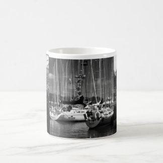 Boat Marina Black & White Photography Mug