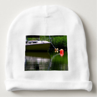 Boat moored at the lake baby beanie