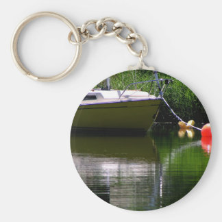 Boat moored at the lake keychain