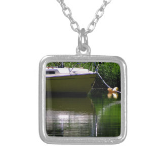 Boat moored at the lake silver plated necklace