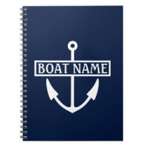 Boat Name Anchor Captain's Log Notebook