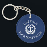 """Boat name and captains nautical anchor keychain<br><div class=""""desc"""">An  anchor nautical themed boat captains design with custom text templates to add your yacht,  ship or vessels name to,  easily change the blue background color.</div>"""