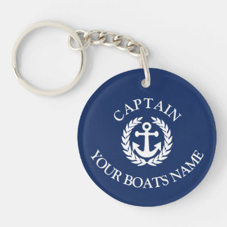 Boat name and captains nautical anchor keychain