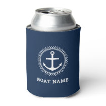 Boat name and nautical anchor can cooler
