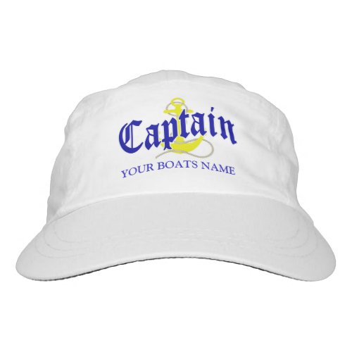 Boat name captain and anchor hat