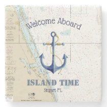 Boat Name & Nautical Anchor Welcome Aboard Florida Stone Coaster