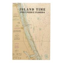 Boat Name Nautical Chart Fort Pierce Florida Wood Wall Decor