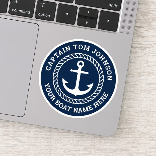 Boat name with anchor dark blue captain sticker