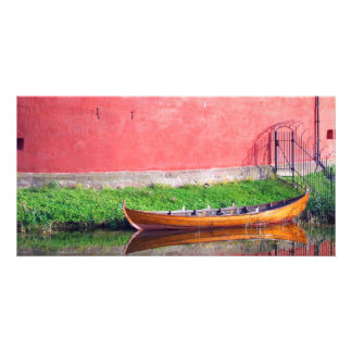 Boat-near-red-round-building BOAT CANOE WATER TRAN Card