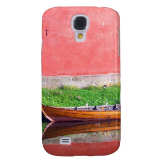 Boat-near-red-round-building BOAT CANOE WATER TRAN Samsung Galaxy S4 Case