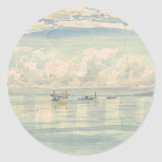 Boat of Francois Bocion Lac Leman Classic Round Sticker
