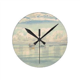 Boat of Francois Bocion Lac Leman Round Clock