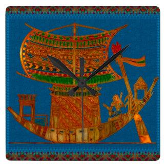 Boat of Reeds Egyptian Folk Art Square Wall Clock