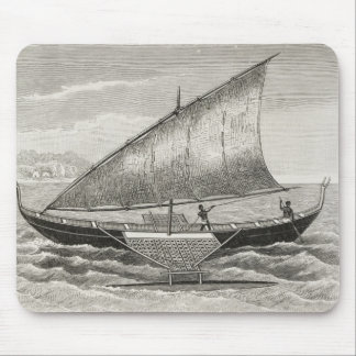 Boat of the Mortlock Islands with outrigger Mouse Pad
