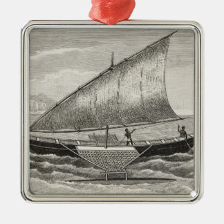 Boat of the Mortlock Islands with outrigger Christmas Ornaments
