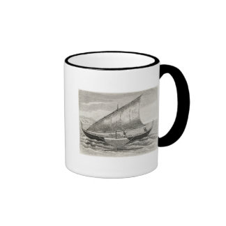 Boat of the Mortlock Islands with outrigger Ringer Mug