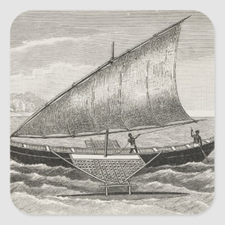 Boat of the Mortlock Islands with outrigger Square Sticker