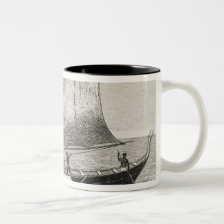 Boat of the Mortlock Islands with outrigger Two-Tone Coffee Mug
