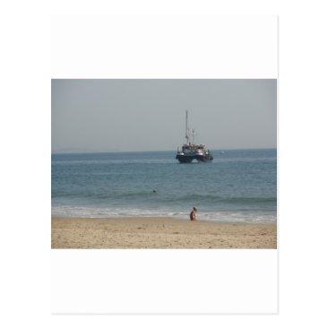 Beach Themed Boat off Bournemouh beach Postcard