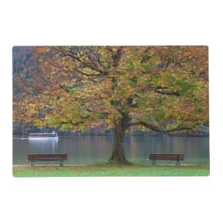 Boat on a lake in fall, Germany Placemat