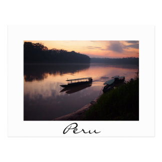 Boat on Amazon river in Peru white text postcard