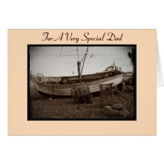 boat on beach at the seaside dad sepia photo card
