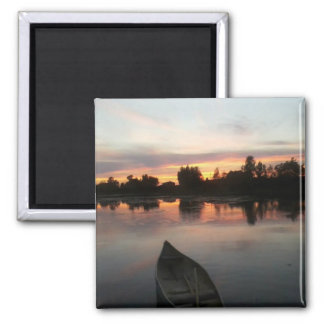 Boat on Lake at Sunset Magnet