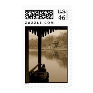 Boat on Lake at Sunset Stamps