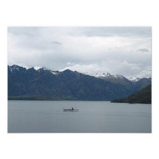Boat on Lake Wakatipu, New Zealand Photo Print