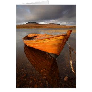 Boat on Loch, vertical. Card by cARTerART
