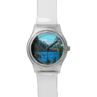 Boat on Mountain Lake Abstract Impressionism Wristwatch