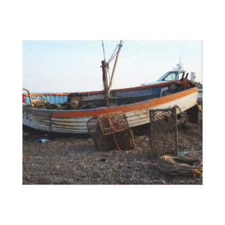 boat on pebble beach seaside photo art canvas