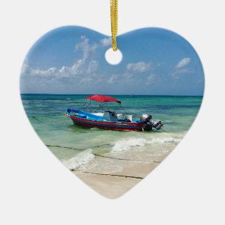 Boat on Playa Del Carmen Ceramic Ornament