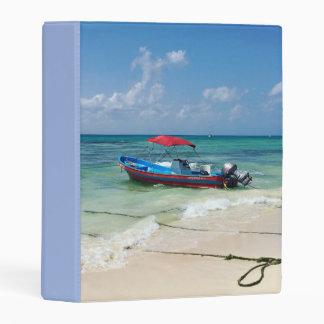 Boat on Playa Del Carmen in Mexico Mini Binder