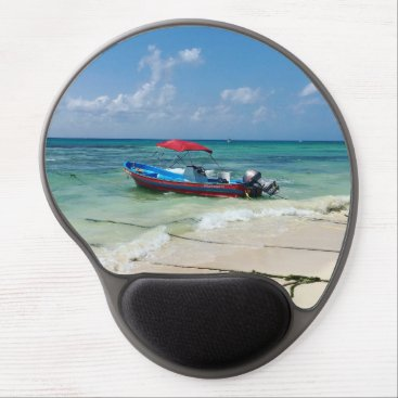 Beach Themed Boat on Playa Del Carmen, Mexico Gel Mouse Pad
