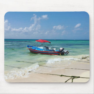 Boat on Playa Del Carmen Mouse Pad