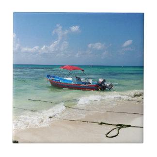 Boat on Playa Del Carmen Tile