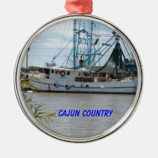 boat on the bayou metal ornament
