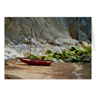 Boat on the beach at Alum Bay Greeting Card