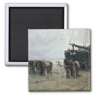Boat on the Beach at Scheveningen, 1876 2 Inch Square Magnet