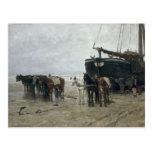 Boat on the Beach at Scheveningen, 1876 Postcard