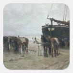 Boat on the Beach at Scheveningen, 1876 Square Sticker